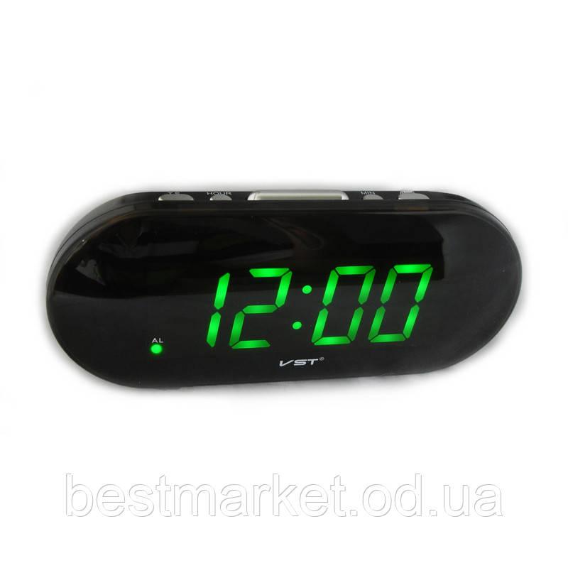 Часы электронные vst-717-2 Green, настольные, сетевые, красный led-дисплей, будильник с отсрочкой сигнала