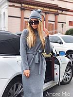 Стильное женское платье с шапкой (ангора арктика, прямой крой, длина миди, пояс, длинные рукава) РАЗНЫЕ ЦВЕТА!, фото 1