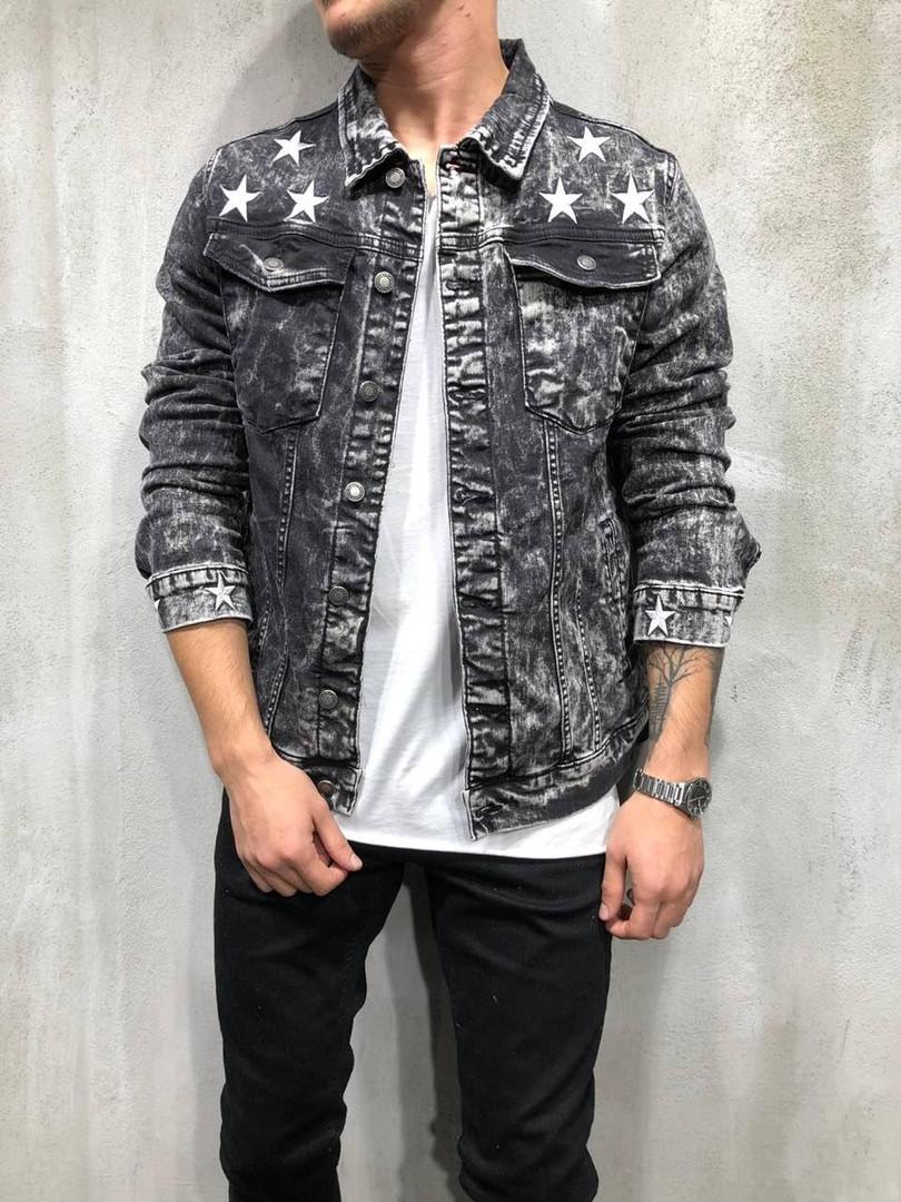 Мужской джинсовый пиджак со звездами серого цвета