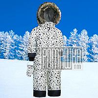 Зимний р. 86-98 сдельный цельный совместный термо комбинезон человечек для девочки детский 4467 Белый