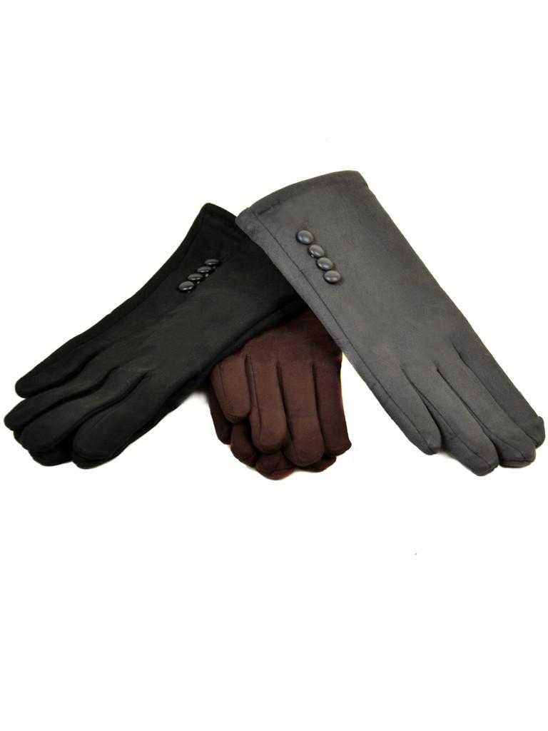 Женские перчатки иск.замш/флис МариFASHION оптом 10 пар