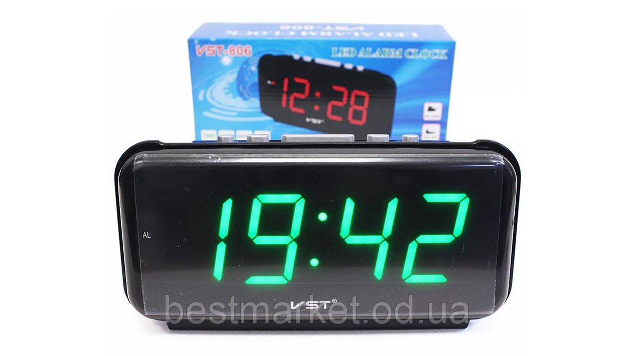 670a4743 Настольные электронные часы Led Digital Clock VST 730-1 Green будильник