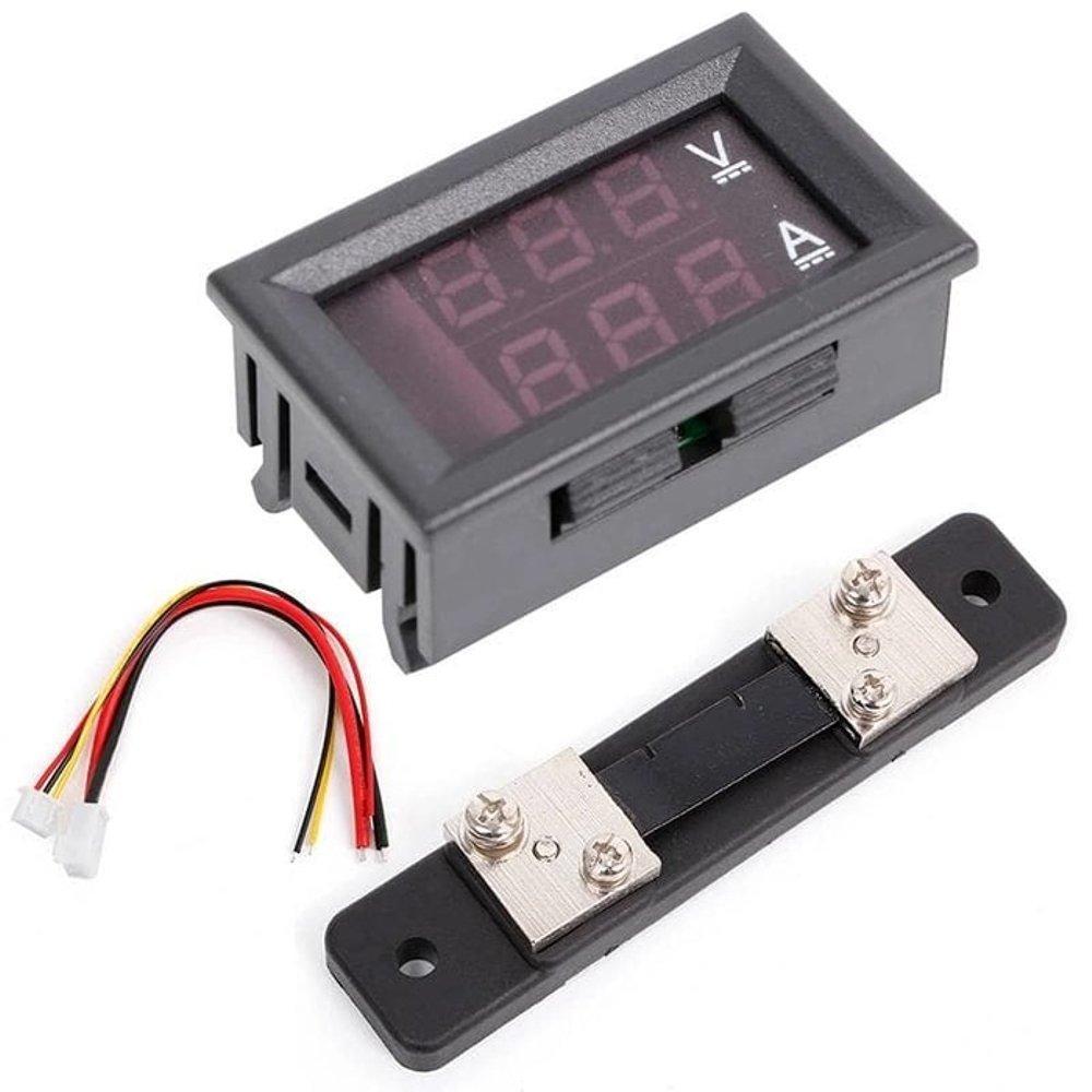 Амперметр вольтметр в корпусі 100В 50А + шунт