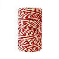 Хлопковый шнур красный/белый (2 мм)