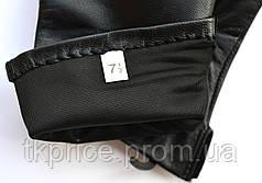 Женские кожаные перчатки с нейлоновой подкладкой удлиненные, фото 2
