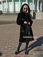 Шуба из меха норки с капюшоном, длина 90см, фото 1