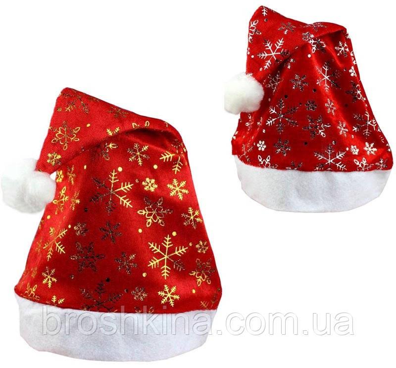 Шапка Деда Мороза со снежинками красная 12 шт/уп