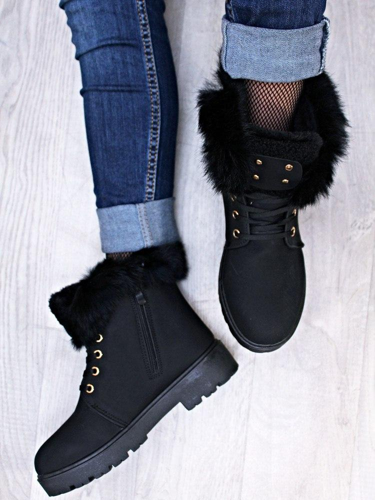 Женские ботинки зима с опушкой