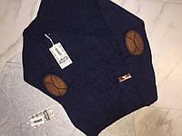 Детский свитер с налокотниками на мальчика турецкой фирмы Mizgin, синий