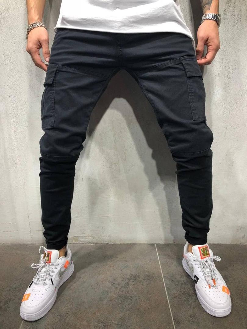 Джинсы мужские с накладными карманами черные