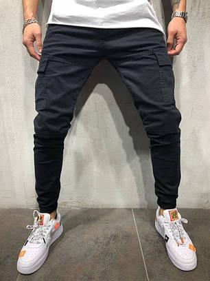 Джинсы мужские с накладными карманами черные, фото 2