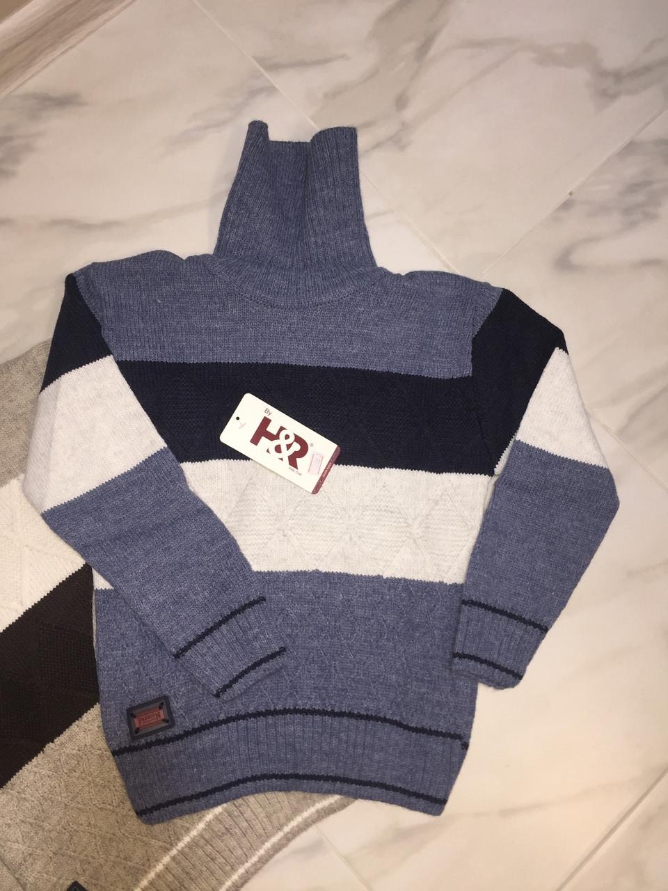 Детский свитер под горлона мальчика турецкой фирмы H&R под горло, полоска, синий