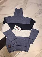Детский свитер под горлона мальчика турецкой фирмы H&R под горло, полоска, синий, фото 1
