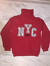 """Детская толстовка под горло на флисе на мальчика турецкой фирмы А.Т.В., красная, """"NYC"""""""