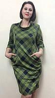 Женское платье трикотажное в клетку с хомутом П27