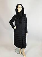 Пальто женское зимнее на холлофайбере (Италия) длинное с декором из бусин и капюшоном
