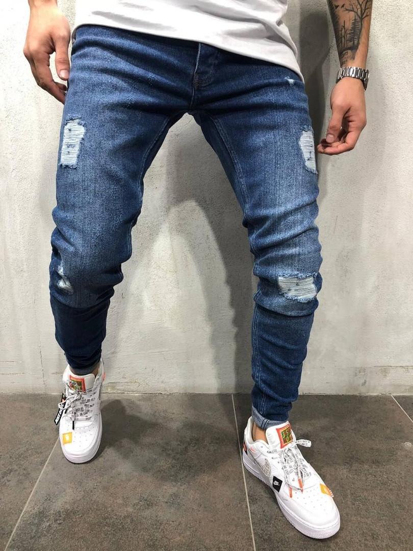 Мужские рваные джинсы синие
