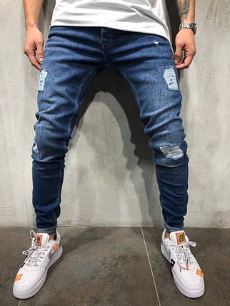 Мужские рваные джинсы синие, фото 2