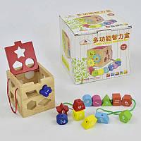 Куб сортер C29496 деревянная развивающая игра шнуровка геометрические фигуры цифры в коробке