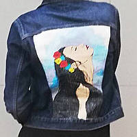 Стильная роспись на джинсовой куртке на заказ , фото 1