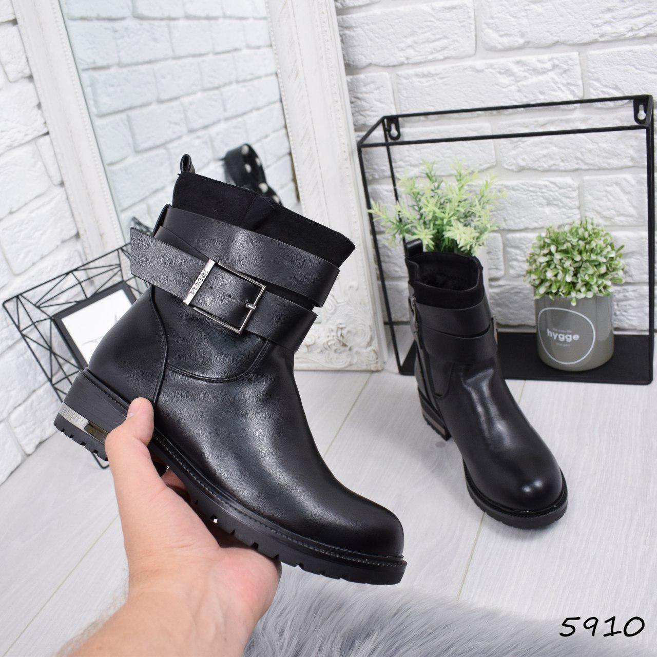 """Ботинки, ботильоны черные ЗИМА """"Simone"""" эко кожа, повседневная, зимняя, теплая, женская обувь"""