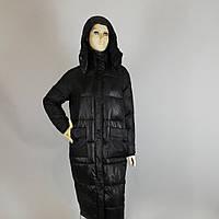 Пуховик  женский зимний (Италия) на холлофайбере длинный с капюшоном