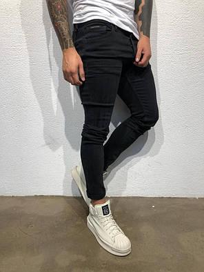 Зауженные джинсы мужские черные, фото 2