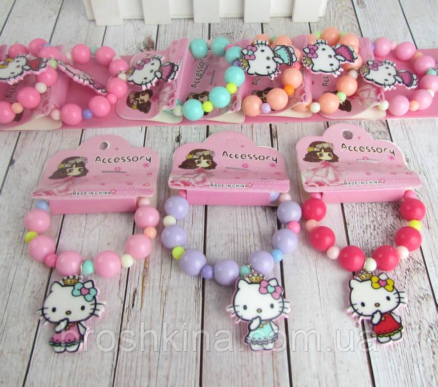Детские браслеты на резинке Китти 10 шт/уп