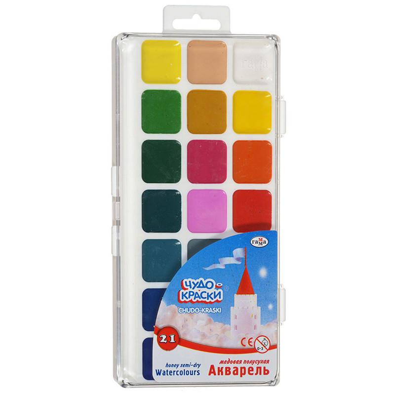 """Краски акварельные """"Чудо-Краски"""", ГАММА полусухие, 21 цвет, объём кюветы 2,8 мл,212076"""