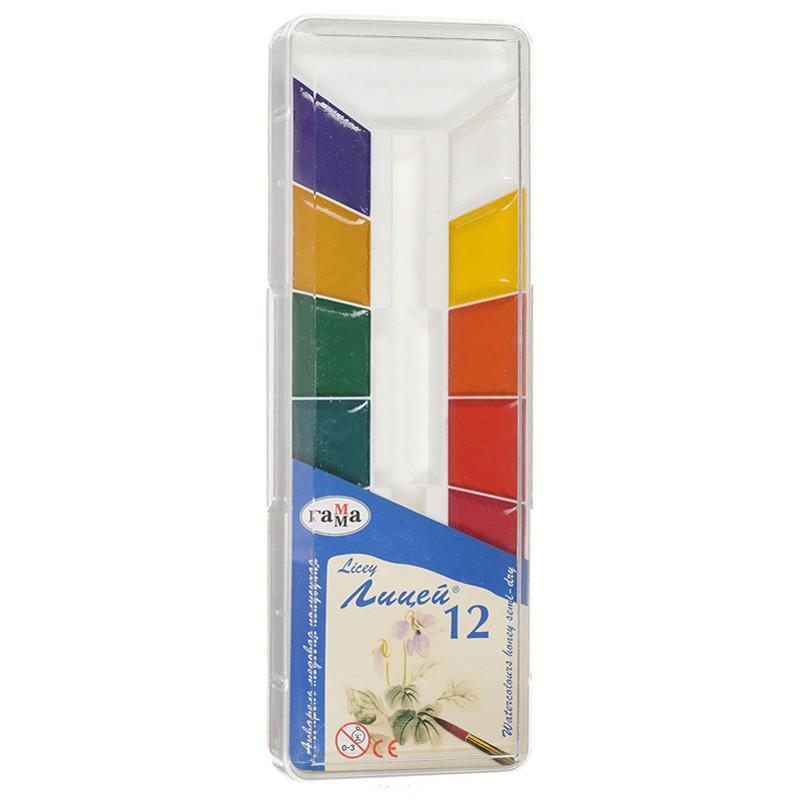 """Краски акварельные """"Лицей"""", полусухие, 12 цветов, для учащихся художественных училищ,. 212064"""