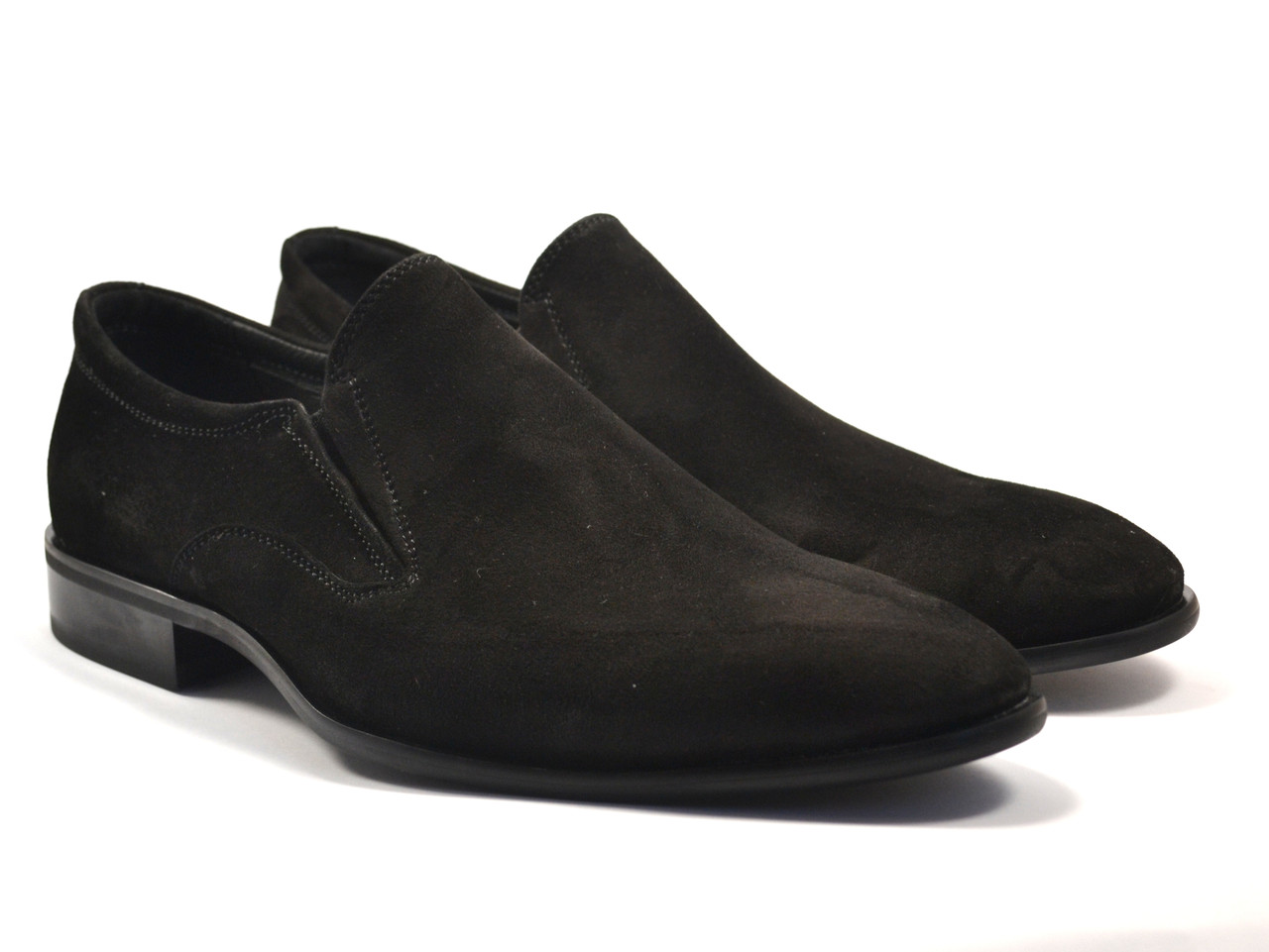 Туфли лоферы замшевые черные без шнурков мужская обувь больших размеров Rosso Avangard BS Mono Vel Black