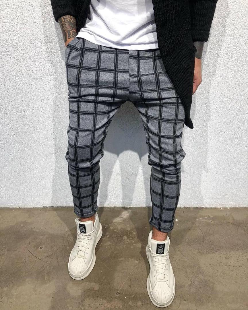 940d4e7ffbb6 Зимние мужские брюки в клетку серого цвета - Интернет-магазин обуви и одежды  KedON в