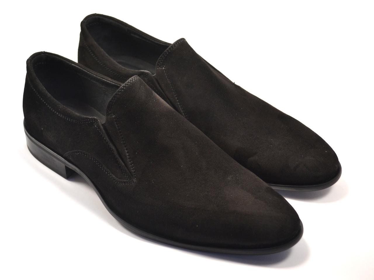 Туфли больших размеров лоферы мужские замшевые черные без шнурков на каблуке Rosso Avangard BS Mono Vel Black