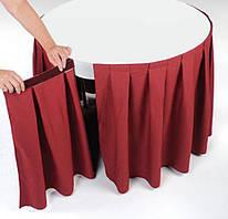 Фуршетные юбки на круглые и нестандартные столы.  Бантовая складка с расходом ткани 1:2,5. Способ крепления: на липучке или со столешницей основой (как чехол).