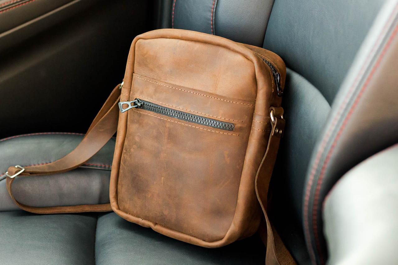 24fed14904e3 Мужская кожаная сумка из натуральной кожи ручной работы Revier коричневая