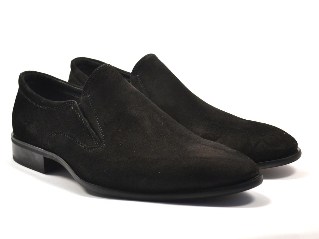 Туфли лоферы замшевые на резинках мужские черные на каблуке классические Rosso Avangard Mono Vel Black