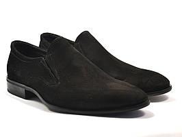 Туфлі замшеві на гумках чоловічі чорні на підборах класичні під костюм Rosso Avangard Mono Vel Black