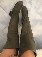 Стильные женские замшевые осенние модные сапоги-ботфорты цвета хаки.  Арт-0130