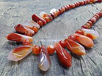 Оригинальные бусы из сердолика, фото 1