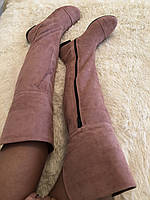 Стильные женские осенние замшевые модные сапоги-ботфорты цвета мокко.  Арт-0141