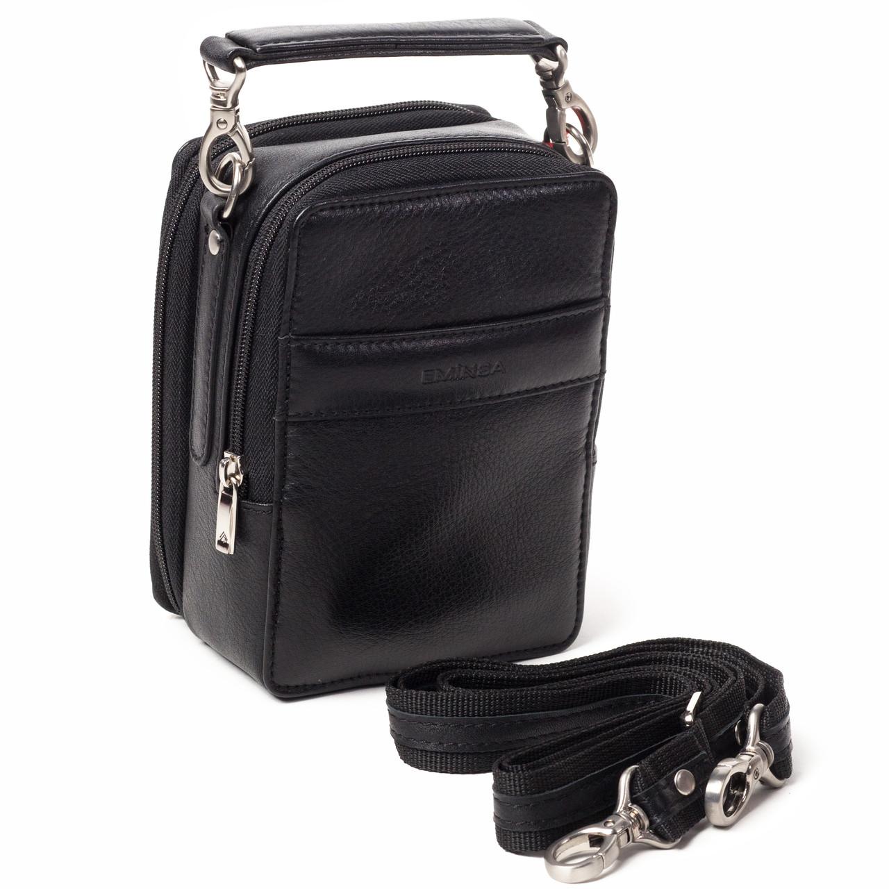 Мужская сумка барсетка Eminsa 6010-12-1 кожаная черная