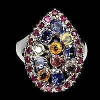Серебряное кольцо с танзанитами, сапфирами SONGEA  и рубинами