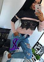 Женская ангоровая кофточка с кружевом