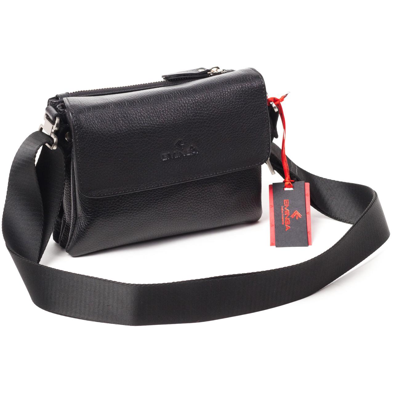 Мужская сумка кожаная чёрная Eminsa 6111-18-1