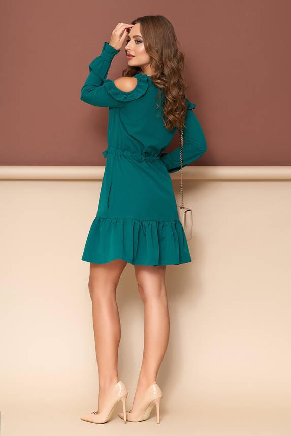 Изумрудное платье с открытыми плечами, фото 2