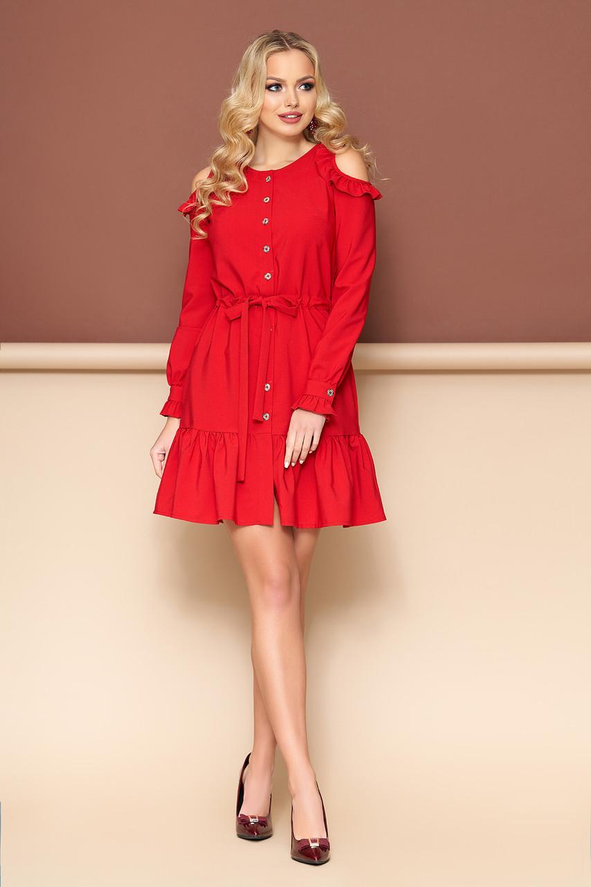 dc234d500cf Красное платье с открытыми плечами и поясом - Интернет-магазин одежды  ALLSTUFF в Киеве