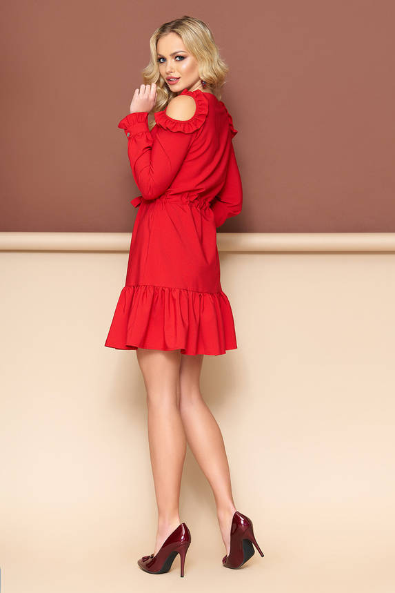 Красное платье с открытыми плечами и поясом, фото 2