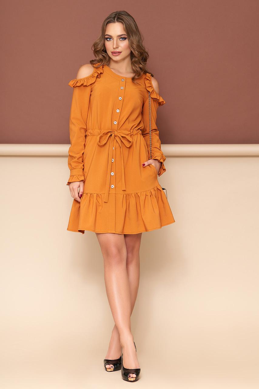 Платье халат с открытыми плечами оранжевое