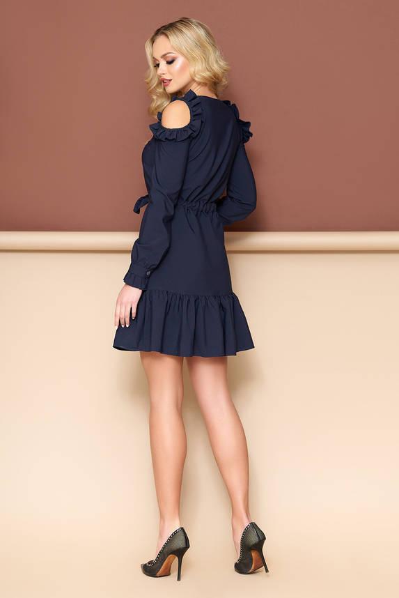 Платье с открытыми плечами темно-синее, фото 2