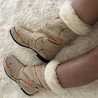 Бежевые зимние женские бархатные короткие сапожки с вышивкой в наличии размер 36.  Арт-0342, фото 1